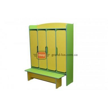 Шкаф 4-дверный для раздевалки, со скамейкой